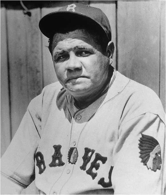 Babe Ruth in his Boston Braves uniform in 1935.