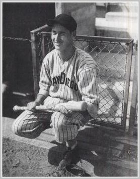 A 17 year old Ted Williams playing with the San Diego Padres of the PCL.