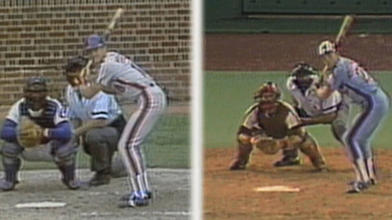Joel Youngblood batting with the New York Mets at Wrigley Field and later with the Montreal Expos at Veteran's Stadium on the same day.