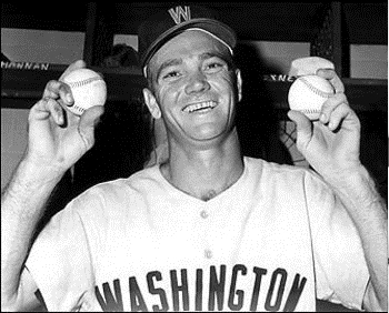 Washington Senators Pitcher Tom Cheney smiles after striking out 21 in a 16 inning game.